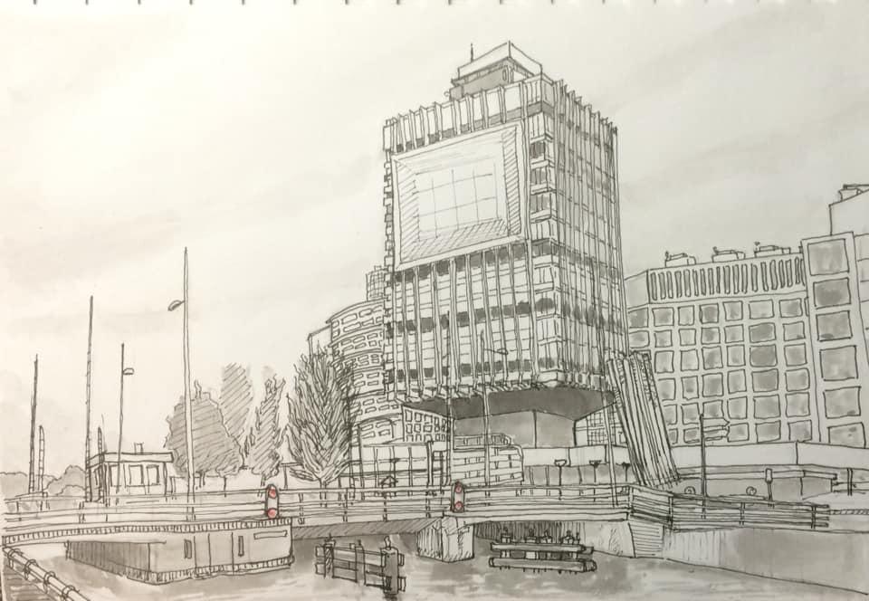 ING gebouw Leeuwarden Bastiaan Klootwijk 14 x 21 cm Pen en inkt