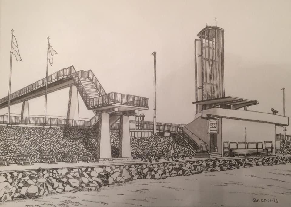 Monument afsluitdijkBastiaan Klootwijk 30x42 cm gewassen inkt tekening