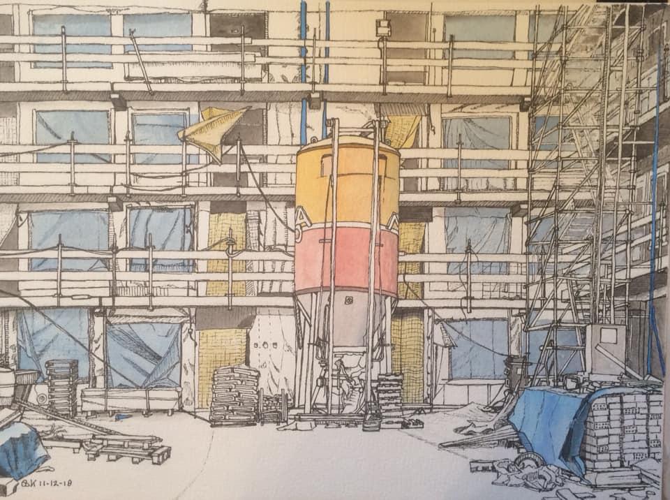 bouwplaats_drachten Bastiaan Klootwijk 30x42cm Gem,techniek