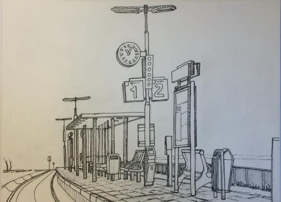 station_franeker Bastiaan Klootwijk 25x32cm Gem,techniek