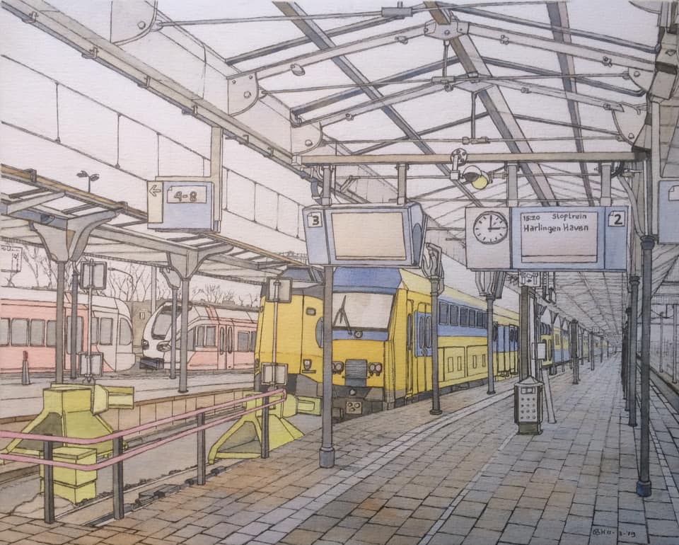 Station Leeuwarden  Bastiaan Klootwijk 30x42cm Gem,techniek